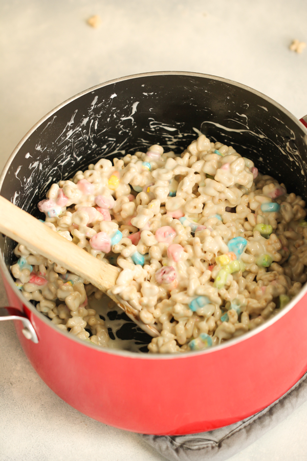 Lucky Charms cereal mixed with melted marshmallows