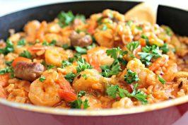 Louisiana-Style Chicken, Sausage & Shrimp Skillet