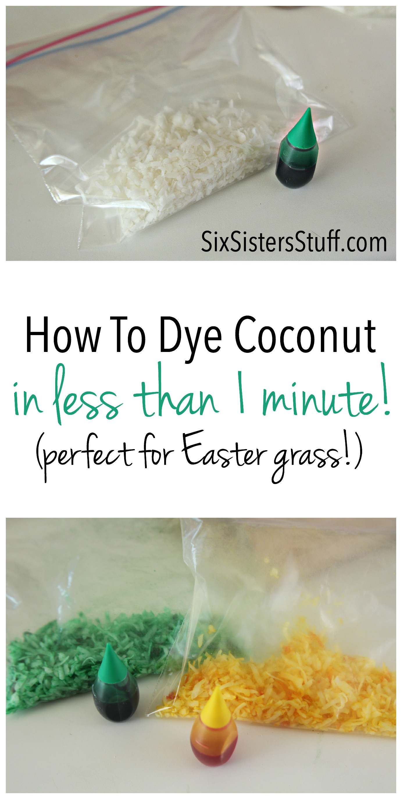 How To Dye Coconut on SixSistersStuff.com