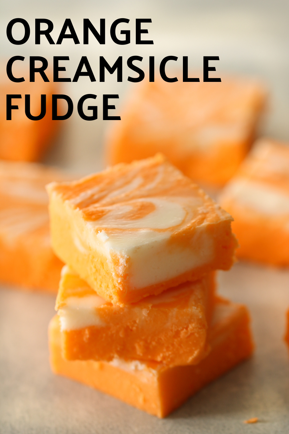 Stacked fudge with title of recipe