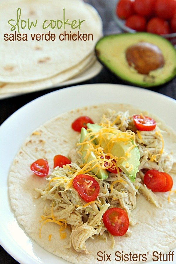 Slow Cooker Salsa Verde Chicken that can be made into a freezer meal