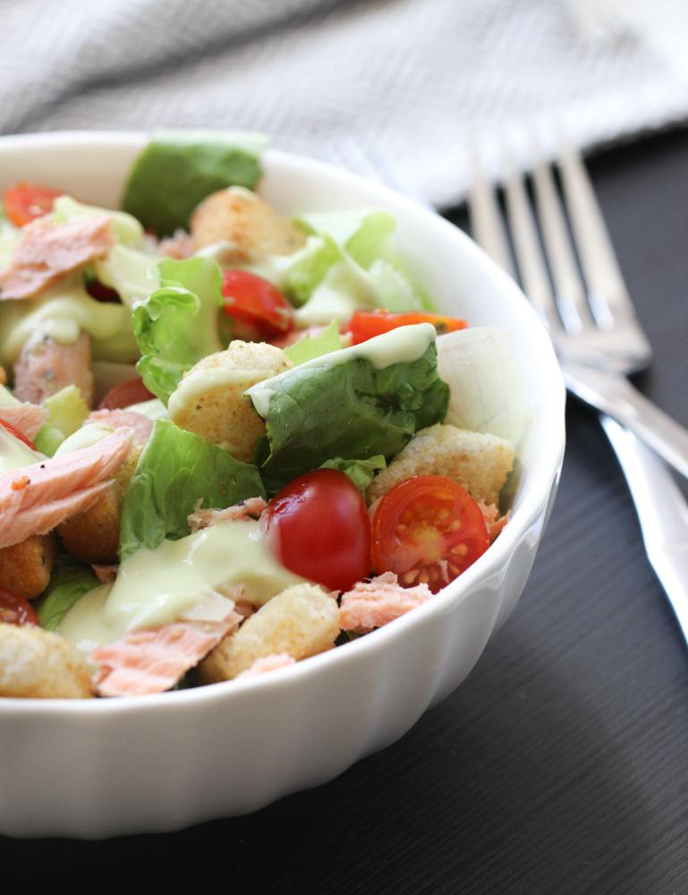 Salmon Salad with Lemon Avocado Dressing
