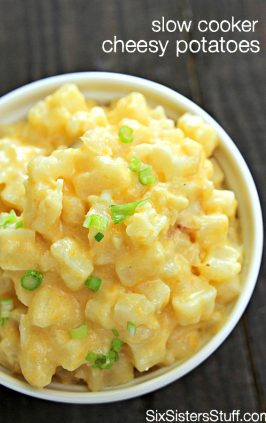 crockpot cheesy potatoes in serving bowl