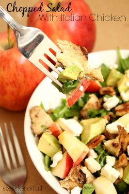 Spinach and Kale Chopped Salad with Italian Chicken