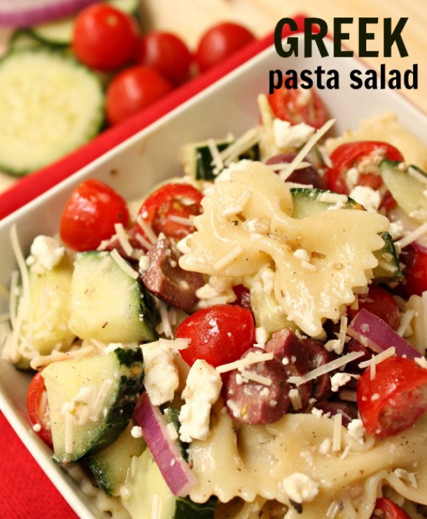 Pasta Salad that is Greek-Inspired with Feta Onion Tomato and Cucumber