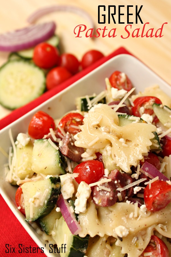 Greek Pasta salad in serving dish