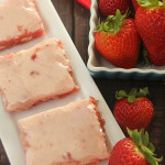Strawberry Cake Bars on SixSistersStuff.com