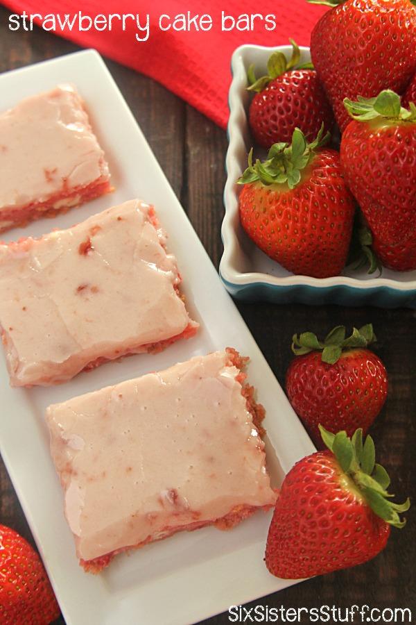 Strawberry Cake Bars on SixSistersStuff.com