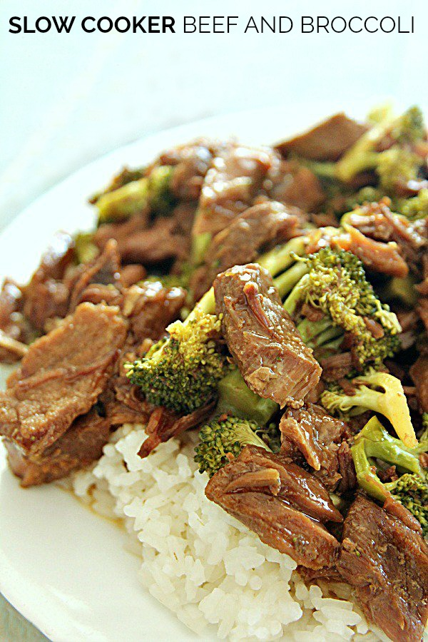 Beef and Broccoli cooked in Slow Cooker served over rice