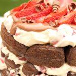 chocolate strawberry waffle cake