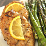 Grilled chicken with lemon and asparagus