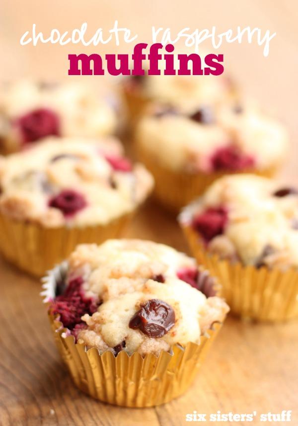 chocolate raspberry muffins from Six Sisters' Stuff