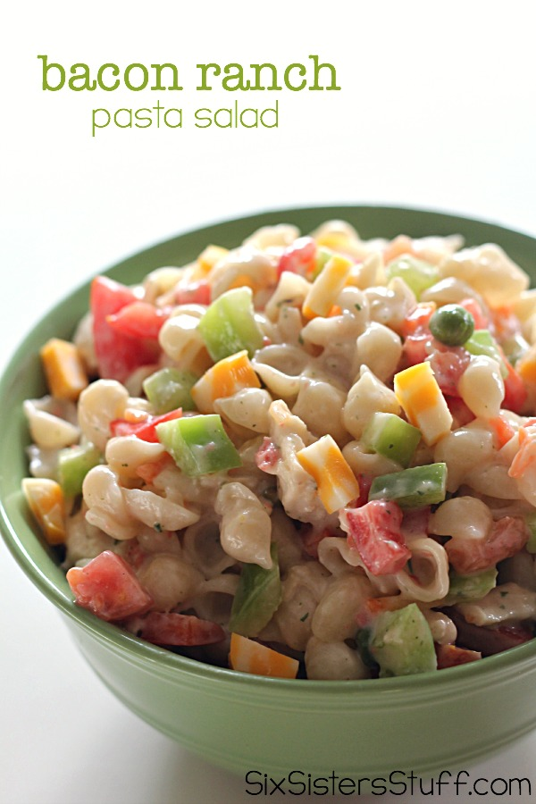 Bacon Ranch Pasta Salad on SixSistersStuff.com