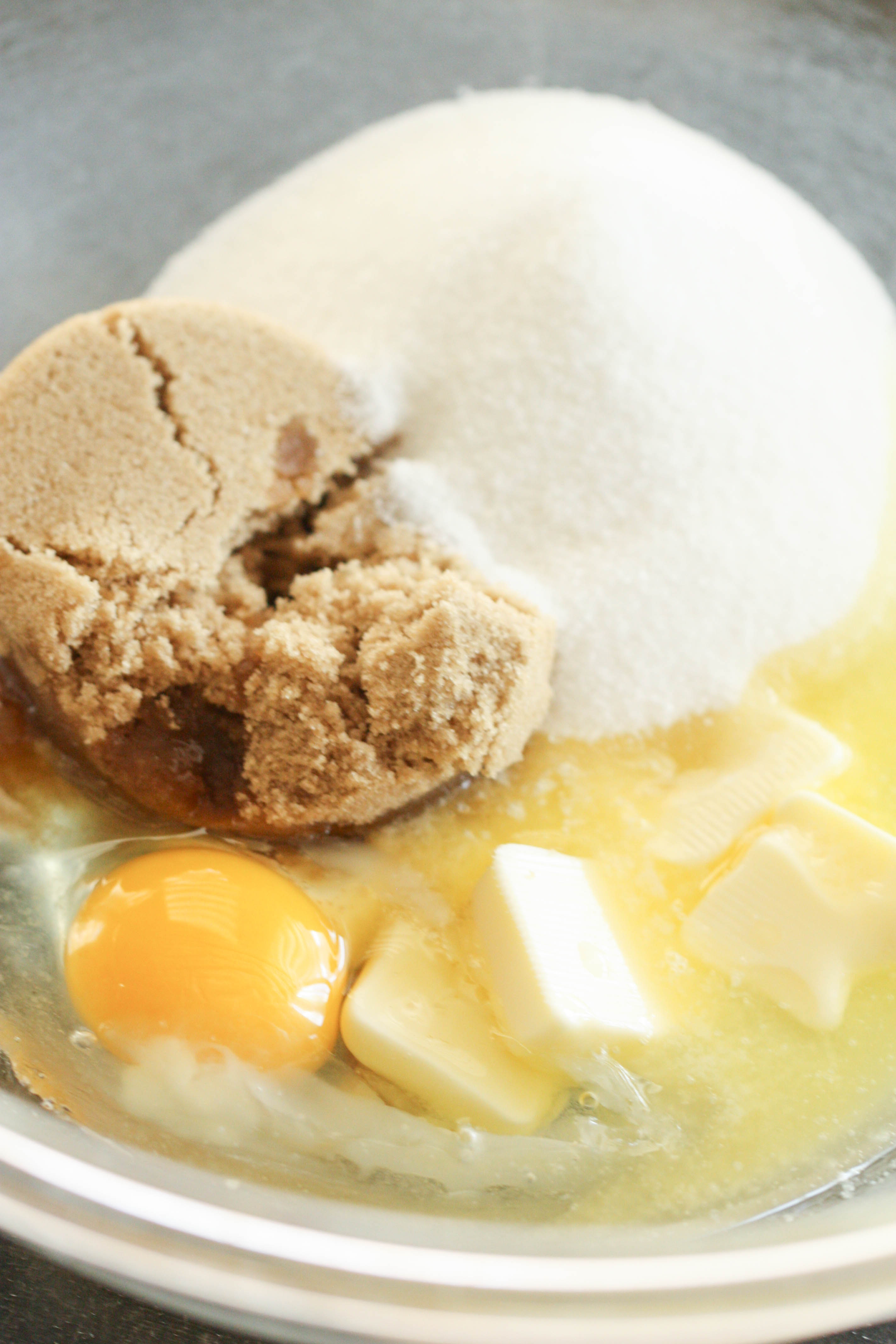 Sugars and Eggs in mixing bowl