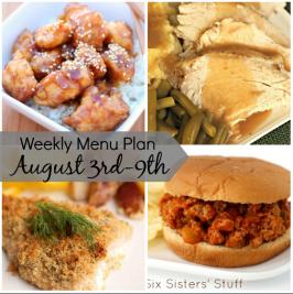 Weekly Menu Plan August 3rd-9th
