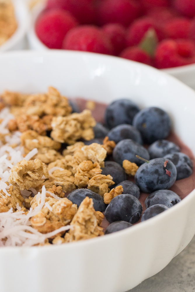 Close up of Blueberries and granola