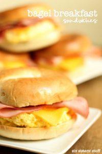 Bagel Breakfast Sandwiches on Six Sisters' Stuff