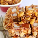 Cinnamon Roll Waffles with Apple Topping