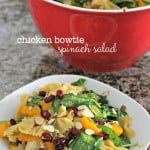 Chicken Bowtie Spinach Salad on SixSistersStuff.com