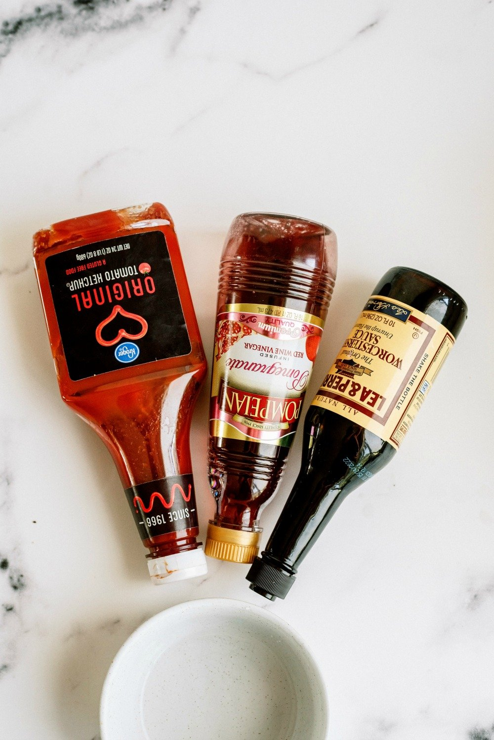 Ketchup, Vinegar and Worcestershire sauce