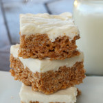 Frosted Pumpkin Marshmallow Crispy Treats on SixSistersStuff.com