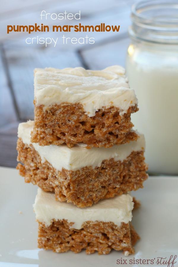 Frosted Marshmallow Pumpkin Crispy Treats