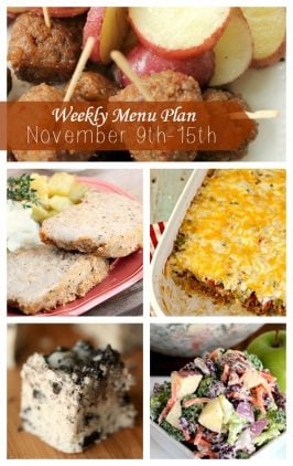 Weekly Menu Plan November 9th-15th