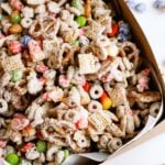 Halloween treat of White Chocolate Chex Mix in a box