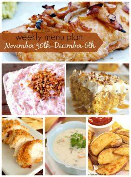Weekly Menu Plan November 30th-December 6th
