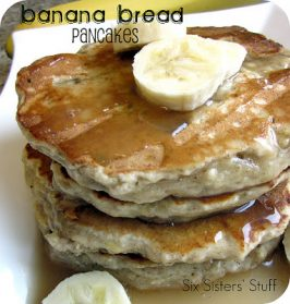 Banana Bread Pancakes Recipe with Vanilla Maple Glaze
