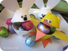 Easter Bunny & Duck Egg Carton Candy Cups