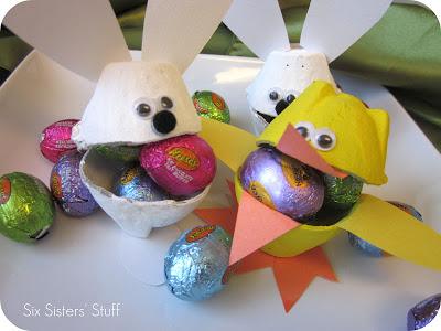 Easter Bunny & Duck Egg Carton Candy Cups