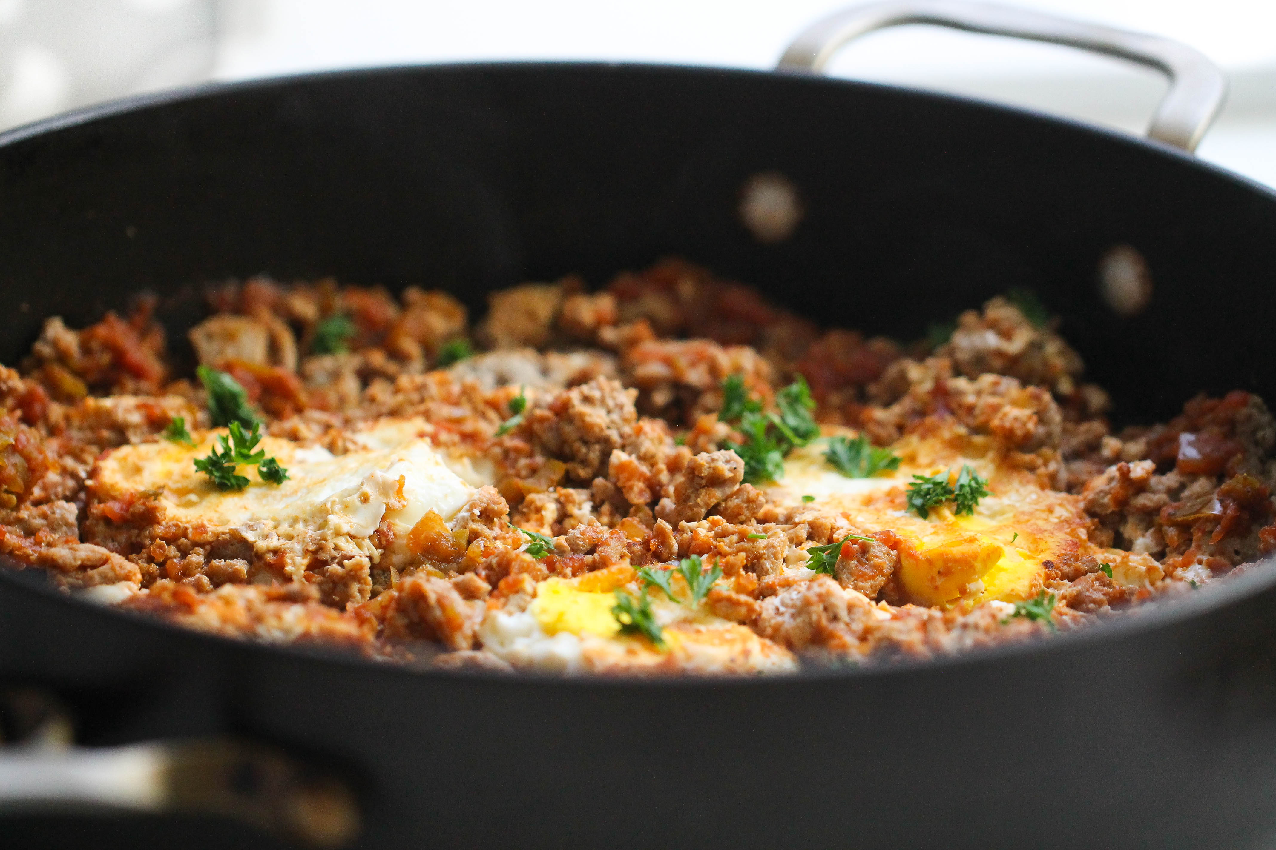One Pan Egg and Turkey Skillet in the pan all cooked