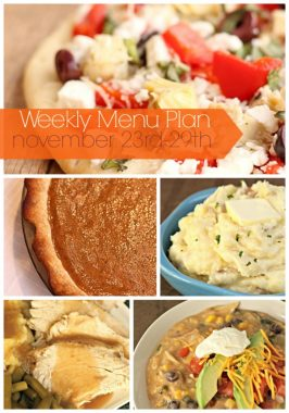 Weekly Menu Plan November 23rd-29th