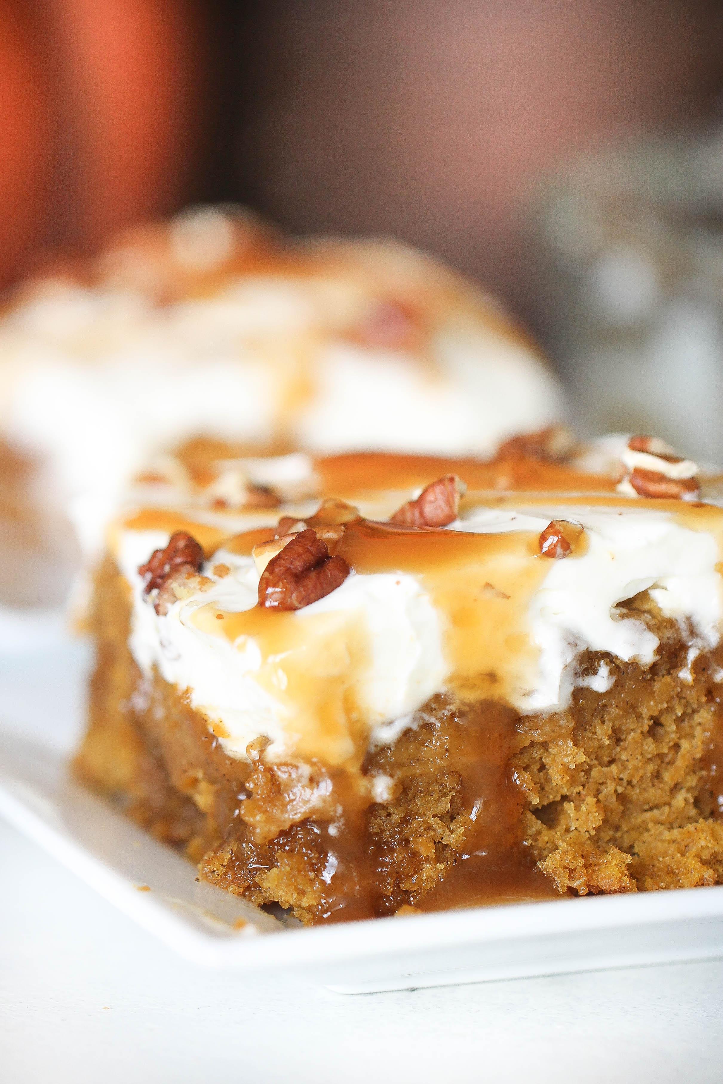 Caramel Pumpkin Poke Cake Recipe