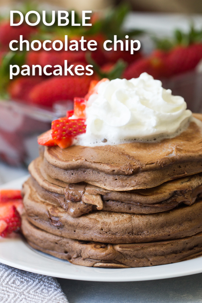 These Chocolate Chocolate Chip Pancakes are sort of a delicious, thick chocolate crepe.