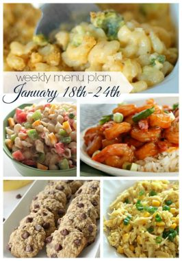 Weekly Menu Plan January 18th-24th