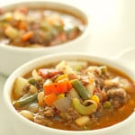 Hamburger Vegetable soup in bowl