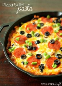 Pizza Skillet Pasta on SixSistersStuff