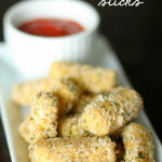 Skinny Baked Mozzarella Sticks from SixSistersStuff.com