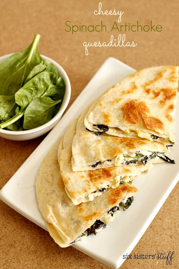 Cheesy Spinach Artichoke Quesadillas
