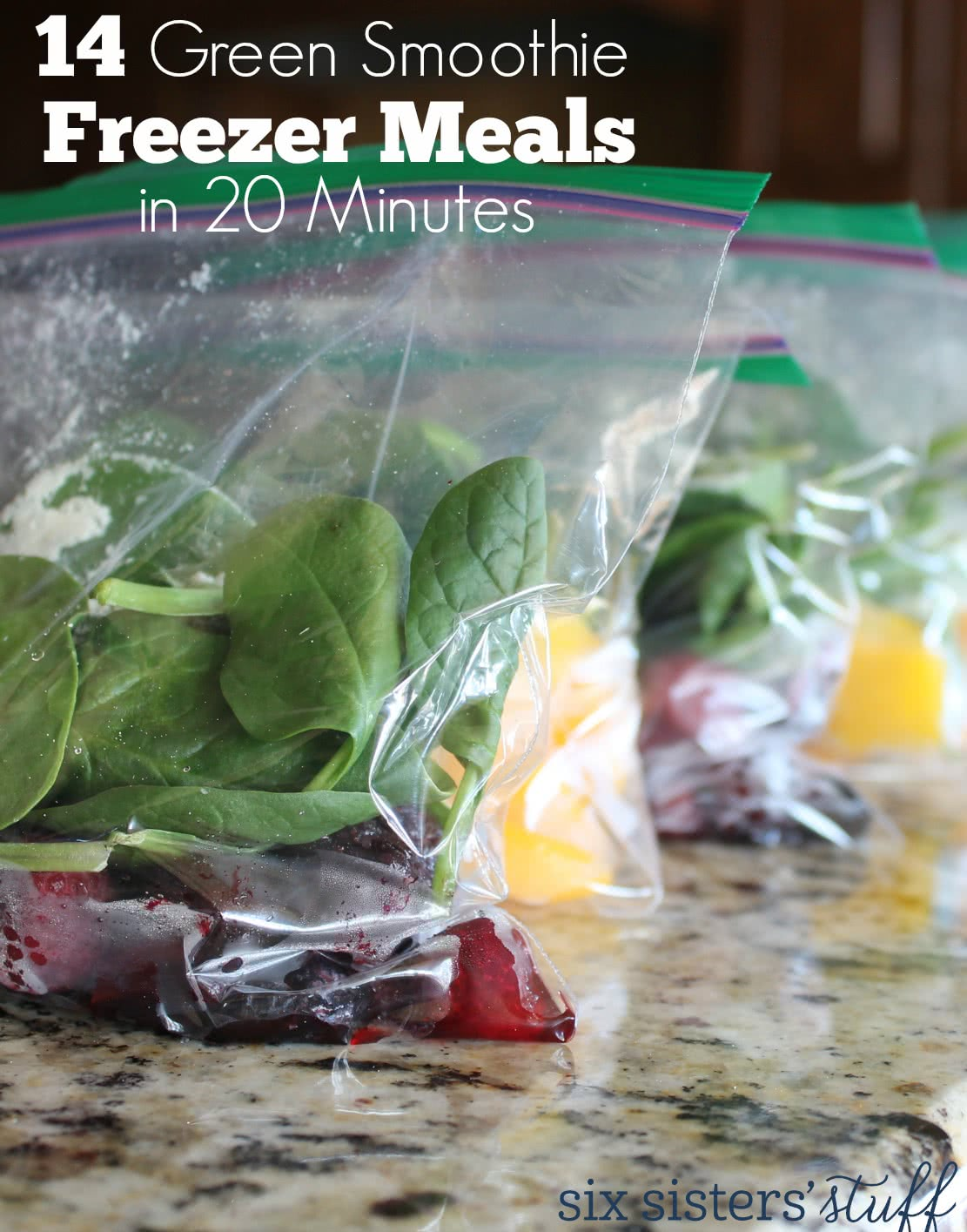 14 Green Smoothie Freezer Meals in 20 Minutes