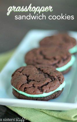 Cake Mix Grasshopper Sandwich Cookies