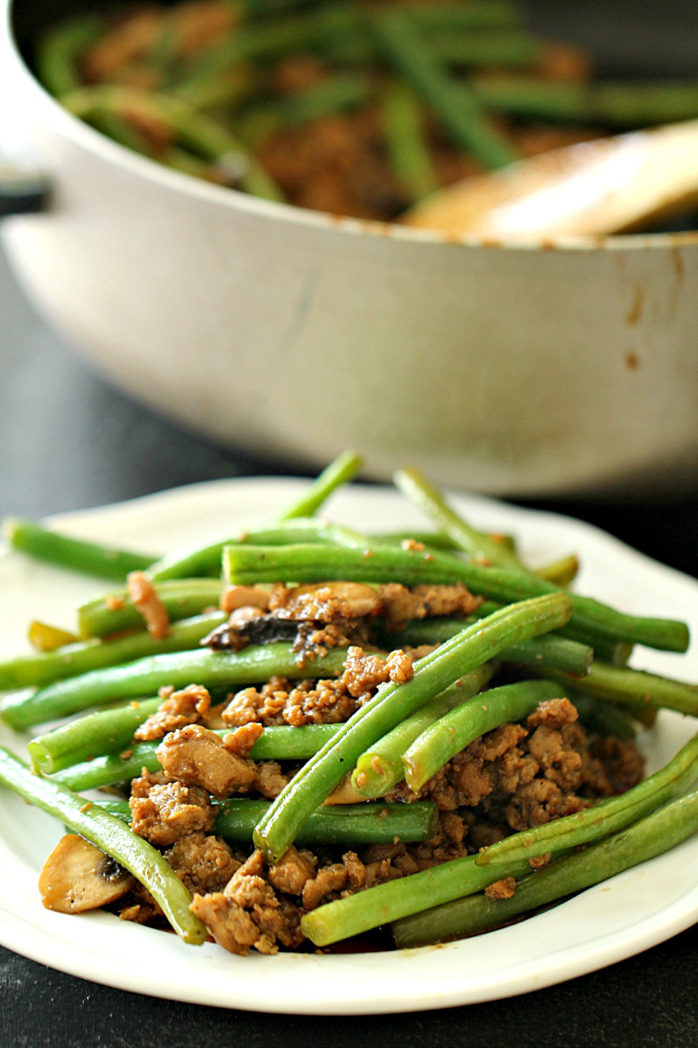 Chinese Ground Turkey and Green Bean Stir-Fry (Healthy)
