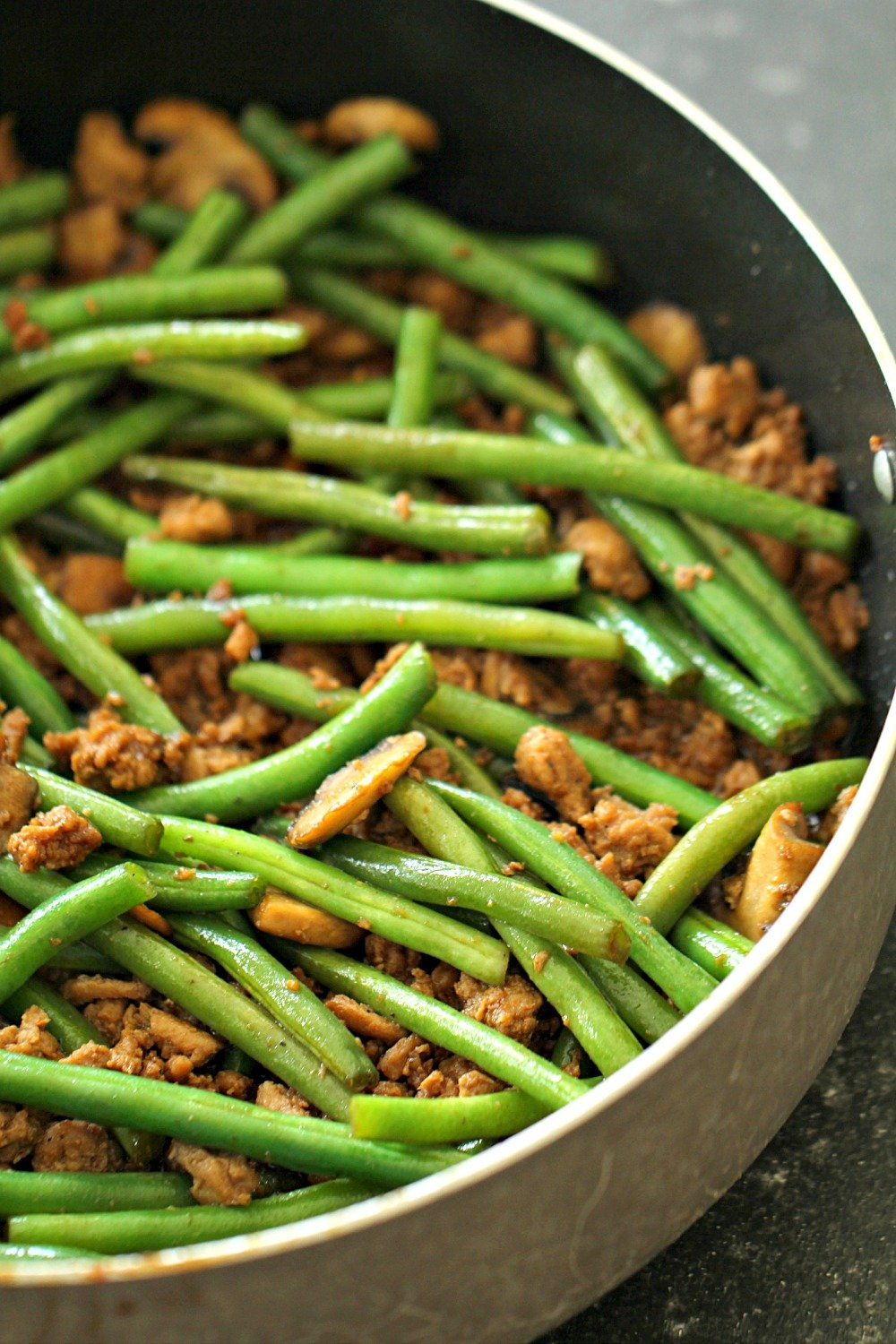 Chinese Ground Turkey and Green Bean Stir-Fry in large pan