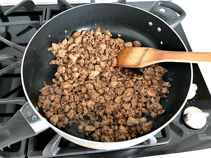Browning Ground Turkey on the stove top in a skillet