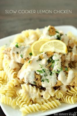 Slow Cooker Creamy Lemon Chicken on SixSistersStuff