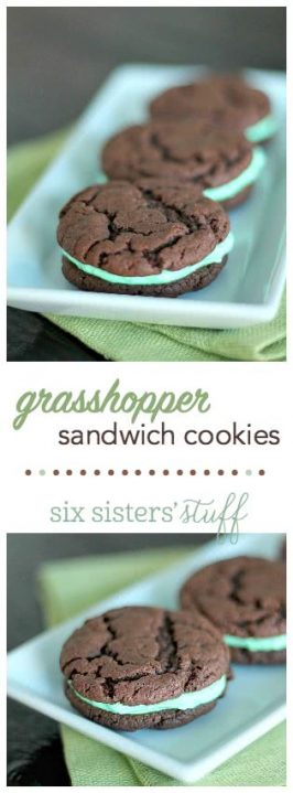 These Grasshopper Sandwich Cookies from SixSistersStuff.com make the perfect treat for St. Patrick's Day!