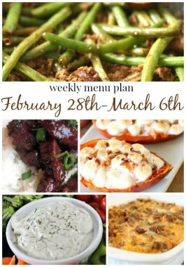 Weekly Menu Plan February 29th-March 6th