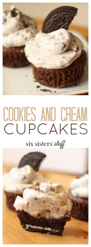 Cookies and Cream Cupcakes from Six Sisters' Stuff pin